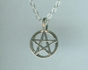 Sterling PENTACLE Pendant AND Chain - Pagan, Wicca, Wiccan, Amulet
