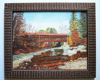 Original Painting by R. Kowalk - Albany Covered Bridge Spanning the Swift River Near Conway, NH - New Hampshire Wooden Bridge