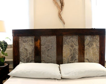 Queen Headboard Made From Old Door and Ceiling tin