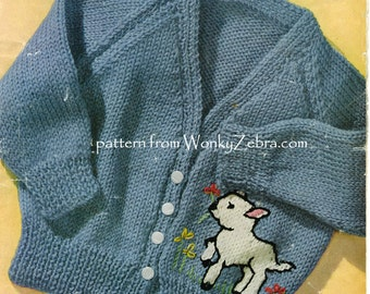 Lamb Cardigan Knitable Knitting Pattern PDF B117 from WonkyZebra Baby