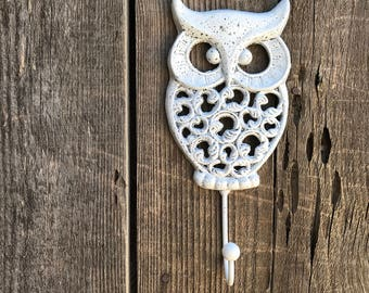 Owl Hook Hand Painted Cast Iron Wall Mount Coat Hooks, Bathroom Towel Owl Hanger, Coat Hooks, Purse Hooks, Item #522577744