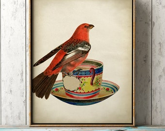 Lovely red bird on a teacup print, bird poster, teacup and bird, coffee cup breakfast, bird illustration, bird home decor, bird art