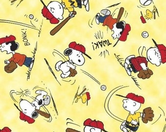 Snoopy Fabric - Snoopy Peanuts Characters All Star Baseball Fabric 100% cotton fabric by the yard (QT126)