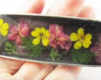 Buttercups and Verbena,  Real Flowers Barrette, Pressed Flowers Jewelry, Real Flower Jewelry, (1699)