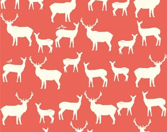 Elk Family Coral Organic Cotton, Deer Fabric