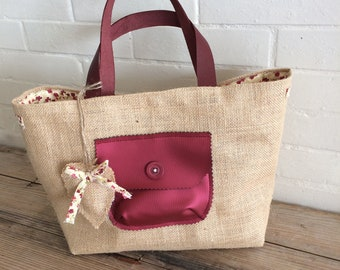 BURLAP Art canvas tote bag ' Bella, faux leather pocket and leather handles