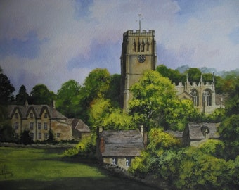 Original Watercolour Painting of NorthLeach Church Cotswold English Town