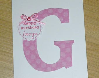 Custom Made Personalised Happy Birthday card - Boys or Girls - choose your colour!  1st 2nd 3rd 4th 5th 6th 7th 8th 9 Monogram handmade card