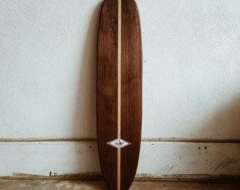 Handcrafted 28 X 65 Walnut Sidewalk Surfboard 1960s Vintage Inspired Skateboard