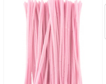 Pink pipe cleaners, pink chenille stems, chenille stems, pipe cleaners