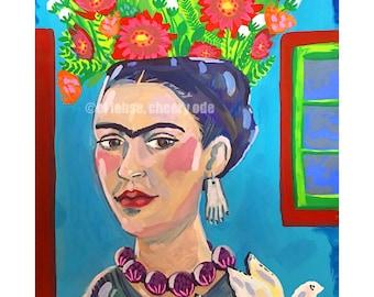 Frida still life • art print • giclee • floral • Kahlo • whimsical • flower vase • case azul • portrait • art history • dove • picasso •gift