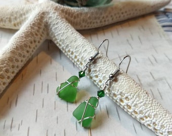 Handmade from Okinawa wire wrapped sterling silver green sea glass earrings. Sea glass jewelry. Mother's day gift for her
