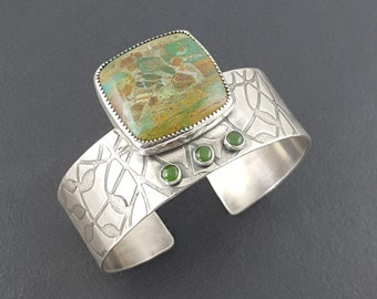Larsonite Cuff, gary green, swamp bog jasper, cuff bracelet, sterling silver, wide cuff bracelet, green jade, off center cuff, asymmetrical