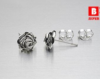 925 Sterling Silver Oxidized Earrings , Rose Earrings, Stud Earrings, Size L (Code : E23C)