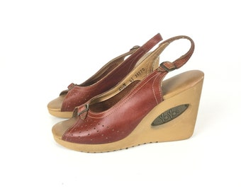 65 Wedge Sandals, brown sandals,  leather sandals, women sandals, High heel sandals, 1970 sandals, 70 sandals, BoHo shoes  bohemian