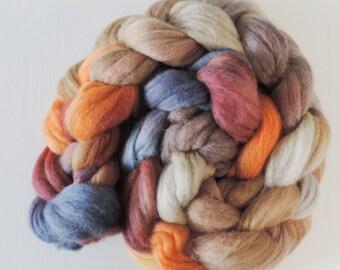 merino silk,Antique Wallpaper, top, handpainted fiber for spinning, .4,2oz