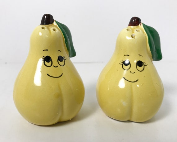 Vintage Adorable Made in Japan Anthropomorphic Pear Salt & Pepper Shakers - Novelty Shakers