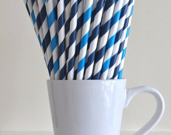 Blue Striped Paper Straws Navy and Blue Party Supplies Party Decor Bar Cart Cake Pop Sticks Mason Jar Straws Graduation