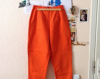 70s Orange Ankle Length Pants High Waist Womens US6 25W