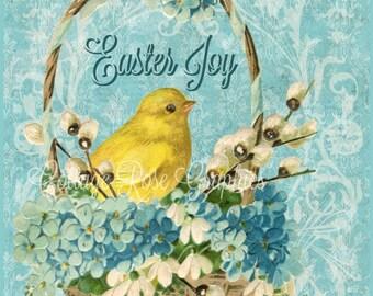 Vintage EASTER chick in a basket forget me nots digital printable download ECS buy 3 get one free  svfteam
