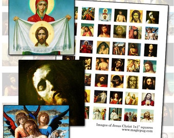 Jesus Christ inchies digital collage sheet 1inch square 25mm x 25mm 1x1