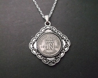 British Sixpence Coin Necklace -  British Six Pence Coin Pendant in Pendant Tray - 70 yr Anniversary- 1948 British Six Pence Coin Necklace