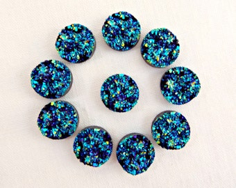 Faux Druzy Cabochon, 20 Resin Druzy, Peacock Druzy, Round Cabochon, 12mm Druzy, Blue and Black, Flat Back Druzy, UK Seller, Jewelry Supplies
