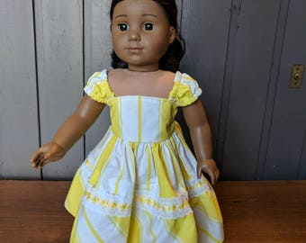18 Inch Doll Clothes - OOAK Cheerful yellow and white sundress fits American Girl