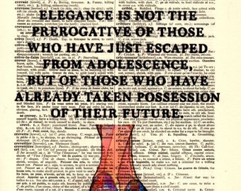 Elegance is not ...Dictionary Art Print,Vintage Poster,Digital Decoration Pop ART,drawing,Gift ideas,Wall,Office decor,Quotes,Home & Living