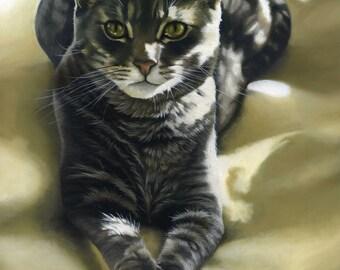 Custom Pet Portrait - Oil painting, cat art, gift for cat owner