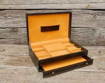 Vintage MELE Jewelry Box, Black and Gold Jewelry Box,