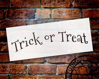"Word Stencil - Trick or Treat - Arched - 10"" X 4"" -STCL509 by StudioR12"