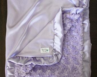 Minky Blanket, Baby Girl, Lavender blanket, silk blanket, ruffle blanket, satin blanket, Purple blanket, Soft Blanket, Cute Blanket, Lilac