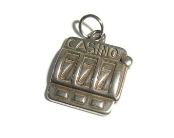 Casino Charm for Necklace Stainless Steel Slot machine 777 Lucky Casino necklace Lucky 7s Casino Pendant Slot Machine pendant gift for him