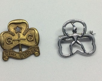 Two Vintage Girl Guides Lapel Pin/Badges