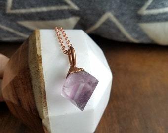 Purple Flourite and Electroformed Copper Necklace