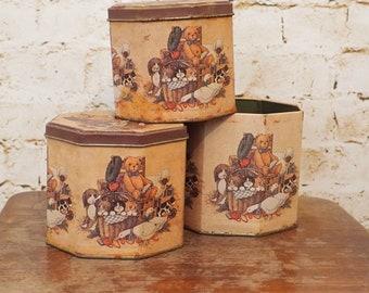 Vintage Teddy Bear Tins - Set of 3