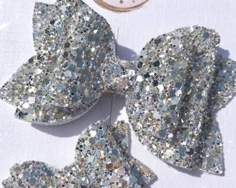 Sparkling Silver Glitter Bow