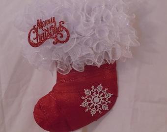 Christmas Stocking Deco Mesh, Ribbon Indoor Wreath