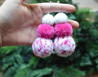 Trio Pink Pom Pom Hoops