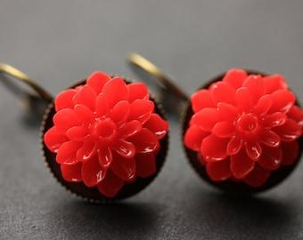 Red Dahlia Flower Earrings. French Hook Earrings. Red Flower Earrings. Lever Back Earrings. Handmade Jewelry.