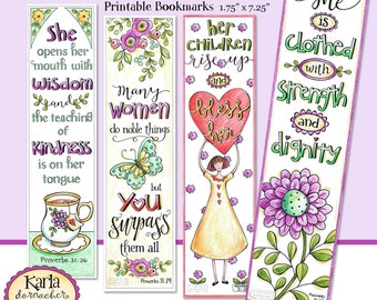 MOTHERS DAY, A Godly Woman, Full Color Bible Bookmarks, Bible Journaling Instant Download Scripture Digital Printable Christian