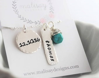 stamped name and date necklace | mothers necklace | gift for new mom | stamped date necklace | push present | personalized jewelry for her