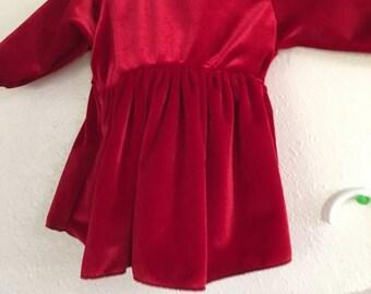 Size Newborn Red Velvet Christmas Dress