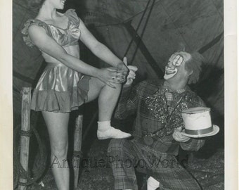 Circus performer woman acrobat with clown vintage photo