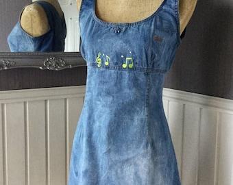 Denim Pinafore, Etuikleid, erraten, Kleid, Vintage-Denim Jeans Stonewashed