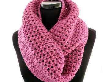Scarf, Infinity Scarf For Women, Pink Scarf, Crochet Scarf, Circle Scarf, Unique Scarf, Crochet Gift For Her, Handmade Scarf, Ready to Ship