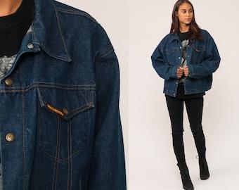 Denim Jacket 70s Jean Jacket Boho Dark Blue Biker Normcore Grunge Vintage Oversized Bohemian 1970s Hipster Button Up Extra Large xl