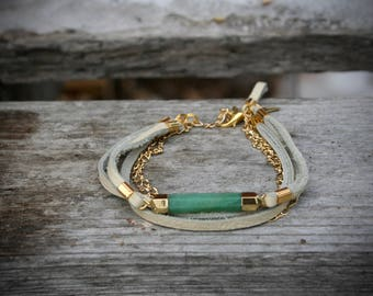 Women's bracelet, white real leather, turquoise aventurine, gold triangle charm, gold chain. -BRA60-