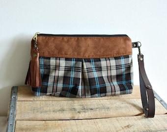 Clutch purse, Wristlet, Pouch, fall style, makeup pouch, plaid purse, everyday purse- Ready
